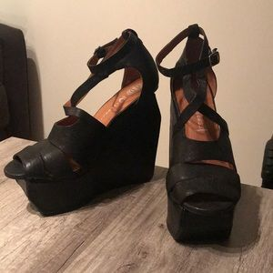 Jeffrey Campbell black block wedge strappy heels